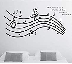 Creative living room bedroom decorative waterproof removable wall sticker - Musical note