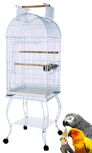 Mcage New Bird Parrot Cage Cockatiel Amazon African Grey Caique Conure, 20 X 20 X 65 h (White Vein)