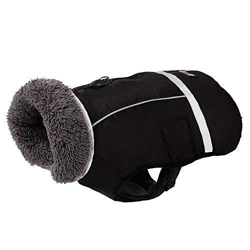 PENIVO Kaltes Wetter Reflektierende Mäntel einstellbar Hund Kleidung Winter wasserdicht im Freien Hund Jacke verdicken warme Hundemantel für Kleine mittelgroße Hundepullover (L, Schwarz)