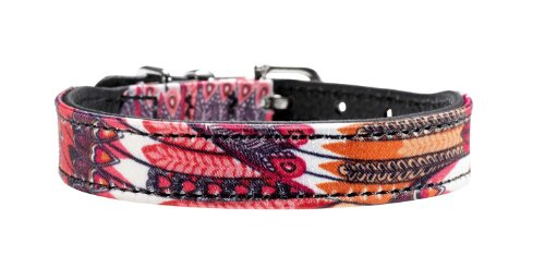 HUNTER Hundehalsband Tropical, Gr. 32, rot gemustert