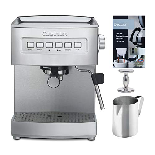 Cuisinart EM-200NP1 Programmable 15-Bar Espresso Maker with Descaling Powder, Handheld Tamper, and Frothing Pitcher (4 Items)