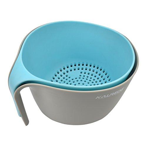 KALREDE 2 en 1 Cuencos y coladores de plástico multiusos para con base antideslizante cuencos apilables para lavado de cocina, escurridor de alimentos, colador para verduras, frutas, pasta (gris&azul)