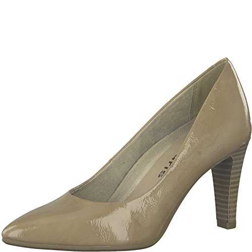Tamaris Damen Pumps 22409-21,Frauen Pumps,elegant,feminin,festlich,Hochhackige Schuhe,Abendschuhe,Businessschuh,Trachten-Schuh,Stiletto 7.5cm,Nude PATENT,EU 39