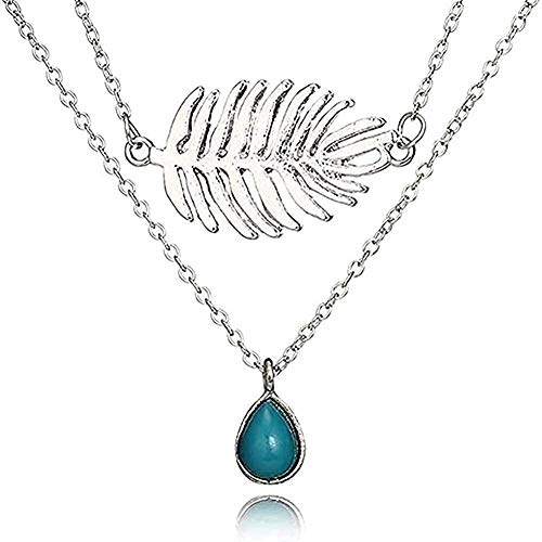 NC110 Necklace Tide Branch Drop Necklace Layered Clavicle Chain Feather Necklace Pendant Necklace Gift for Women Men Girls Boys