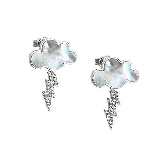 Gepersonaliseerde creatieve oorring-925 sterling zilveren oorbellen schelp wolk oorbellen zirkoon bliksem wit goud oor hangen, Thumby