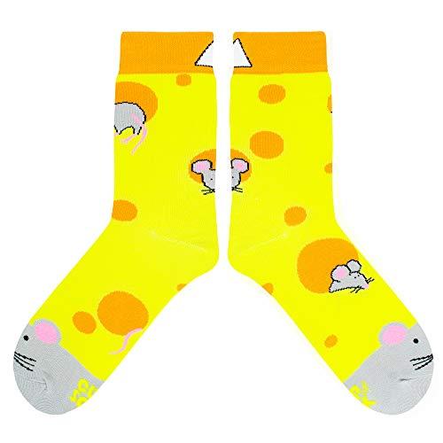 CUP OF SOX Herren Damen Bunte Lustige Socken mit Käsemuster, Gemusterte Gelbe Geschenksocken in der Pappbecher, 41-44