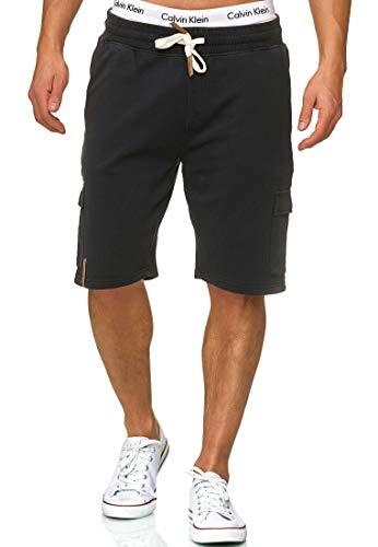 Indicode Homme White Rock Cargo Short en Molleton avec 5 Poches 100% Coton | Court Pantalon Cargo Shorts Militaire Camouflage De Sport Camouflage Sweat Pants Loisirs pour Homme Noir M