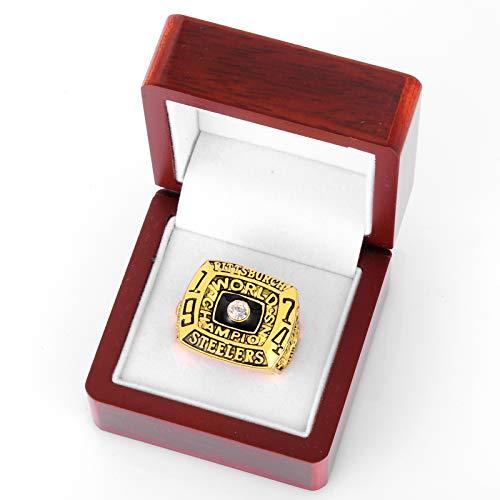 WOCTP Hombres Rugby 1974 Steelers Championship Ring, Rugby Fan Souvenirs Designación Anillos Campeones Anillos Fans Regalos con Caja 11#