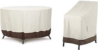 AmazonBasics Funda Protectora para Mesa de Comedor Redonda (120cm) + Funda Protectora para sillas apilables