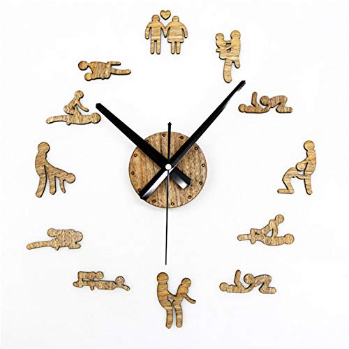 QXbecky Reloj de Bricolaje de Madera Retro idílico, Reloj de Pared de Gran tamaño Simple, Sala de Estar, gráficos de Pared de Moda, Arte Creativo Personalizado