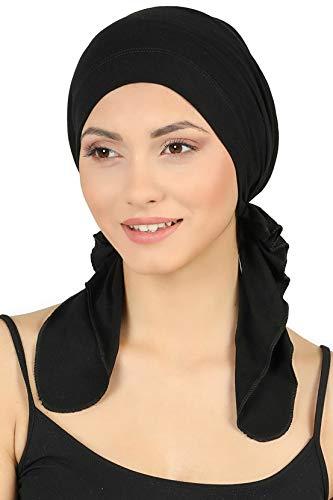 Deresina Vorgebunden Tücher der Baumwolle für Haarausfall, Krebs (Schwarz)