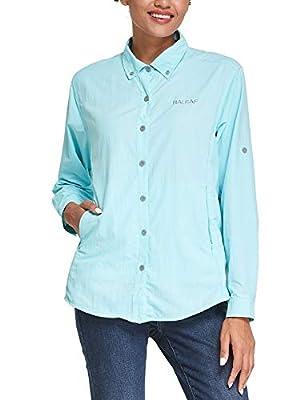 BALEAF Women's Fishing Shirts UPF 50 Quick Dry Zip Pockets Long Sleeve for Camping Hiking Garden Travelling Blue M