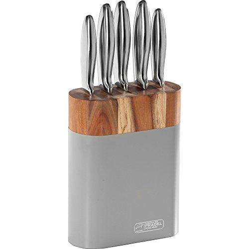 Jean Dubost Créations DS191220X21101 Bloc Smart 5 Couteaux INOX, Acier, 22 x 9 x 36 cm
