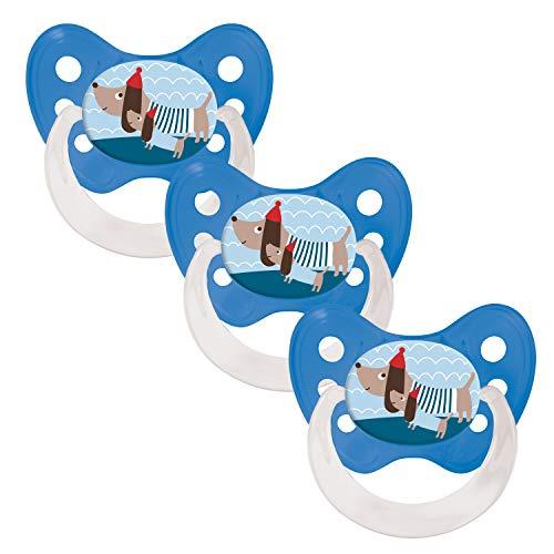Dentistar Silikon Schnuller im 3er-Set – Größe 2 6-14 Monate – Zahnfreundlicher und kiefergerechter Silikonschnuller mit Dental-Stufe – Blau mit Dackel-Motiv – BPA-frei – Made in Germany