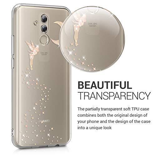 kwmobile Huawei Mate 20 Lite Hülle - Handyhülle für Huawei Mate 20 Lite - Handy Case in Fee Glitzer Design Rosegold Transparent - 3