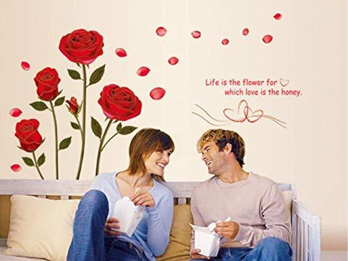 QTXINGMU muursticker planten rozen woonkamer slaapkamer kinderkamer decoratie afneembare sticker