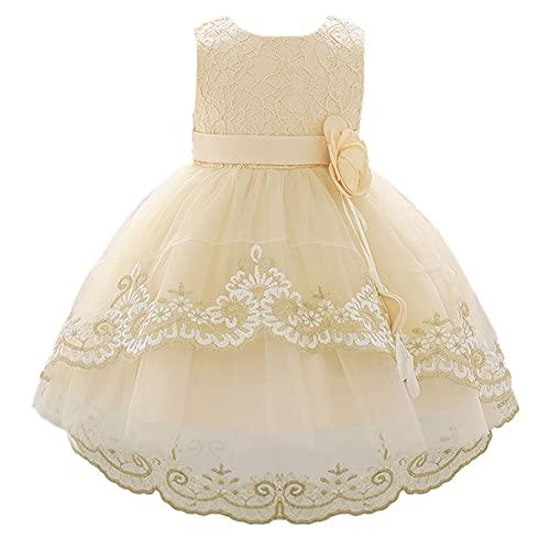 YiZYiF Vestido Fiesta con Apliques de Flores para Bebé Niñas Vestido de Tul Alto y Bajo sin Mangas Vestido Princesa para Fiesta Boda Ceremonia Champán 12-18 Meses