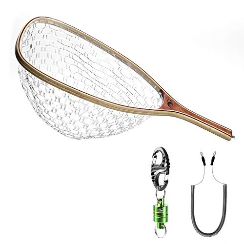 SF Fly Fishing Landing Soft Rubber Mesh Trout Catch and Release Net with Black Magnetic Net Release Combo Kit