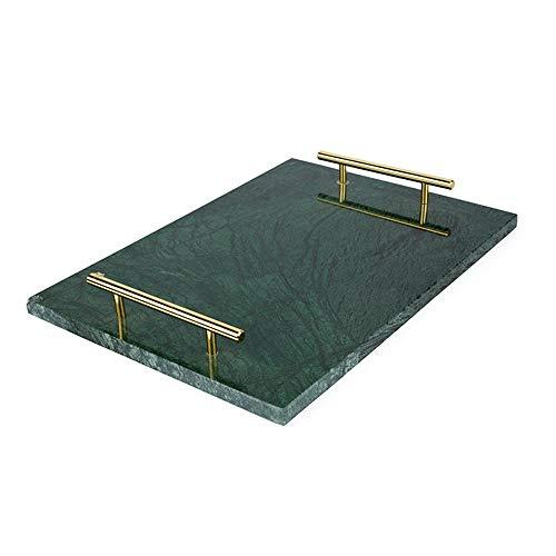 Yingm Plateau Fait Main Marbre Service Rectangle Plateau avec poignées Maison et Cuisine Multi-Usage Placez Les Petits Bijoux (Couleur : Vert, Size :