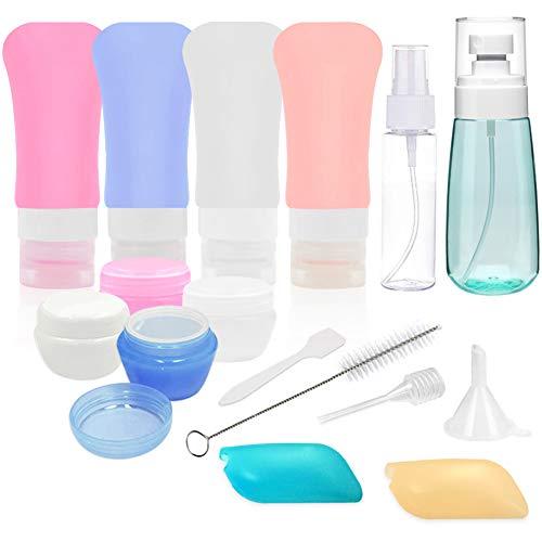 FreeBiz 16 Pack Silikon Reiseflaschen Set für die Reise, Auslaufsicher Reisebehälter für Shampoo Duschgel Spülung Creme Solar-Öl-Creme