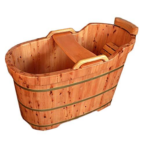 NQFL Badewanne Sauna Holzfass Badefass Badewanne Badefass Sauna Hotel Spa Handlauf (eckig) Solid Wood (Square)-150 * 63 * 72cm