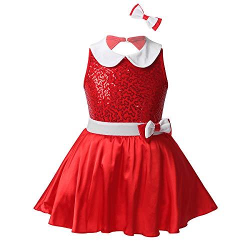 Mufeng Nias Sin Mangas Brillantes Lentejuelas Cuello de Mueca Vestido de Navidad Saln Latino Dancewear Rojo 8 Aos