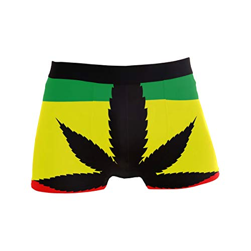ALARGE Men's Boxer Briefs, Marijuana Leaves Short Underwear Soft Stretch Underpants for Men Boys S-XL
