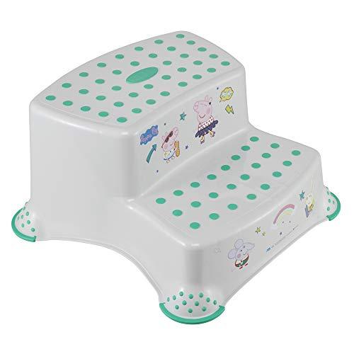 keeeper Igor Peppa Pig-Taburete/alzador 2 niveles para niños a partir de 3 a 14 años aprox, función antideslizante, color blanco, 40x37x21 cm