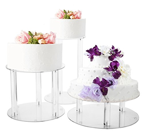 Jusalpha 3 Tier Large Acrylic Glass Round Wedding Cake Stand, Food Display Stand, Cupcake Stand, Dessert Display Platter WCS02 (3 tier with base tier)