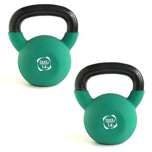 Body Revolution Neoprene Manubrio – Gomma Rivestiti Ghisa Kettlebell Ghiria (2kg a 24kg) (14kg Paio)