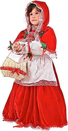 VENEZIANO Costume Carnevale da Cappuccetto Rosso in Velluto Vestito per Bambina Ragazza 1-6 Anni Travestimento Halloween Cosplay Festa Party 1171 2 Anni