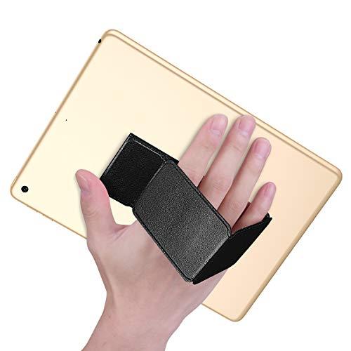 タブレット スタンド スマホリング ホールド 手持ち 裸族 貼るタイプ 折り畳み 落下防止 マグネット内蔵 革ストラップ iPad/タブレット/iPhone/kindle スタンド (タブレット用ブラック)