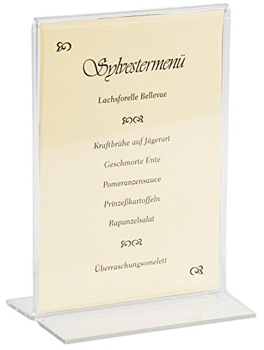 Aufsteller aus dickem Acrylglas, passend für Karten im Hochformat, mit stabilem Fuß/Größen: DIN A6, DIN A5 oder DIN A4 | ERK (A3 - DIN A4)
