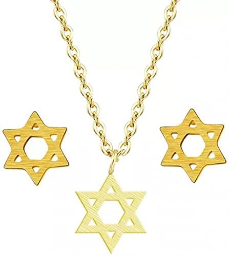 Aluyouqi Co.,ltd Collar de Moda Collar Colgante Collar Colgante para Mujeres Hombres Joyería étnica judía Color Oro Rosa Joyería de Acero Inoxidable Fiesta de cumpleaños