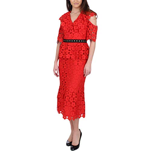 Juicy Couture Womens Floral Guipure Ruffle Sleeve Dress