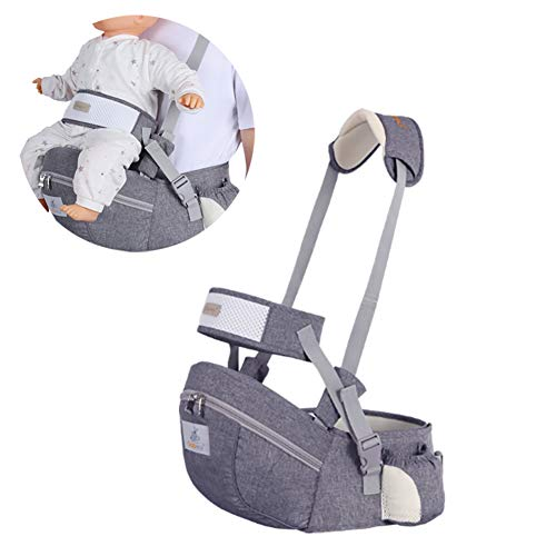 Baby Hip Seat Carrier Baby Waist Stool for Child Infant Toddler with Adjustable Strap Buckle Pocket Soft Inner Huge Storage (Dark Grey)