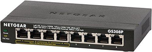NETGEAR 卓上型コンパクトアンマネージスイッチングハブ GS308P ギガビット 8ポート (PoE 4ポート 53W) 静音ファンレス 省電力設計 3年保証