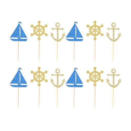 Toyvian Seethema-Kuchendeckel des Segelboot-Topper 48Pcs für Geburtstags-Babyparty-Parteidekoration