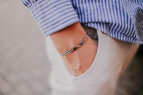 Dezentes Armband für Herren - edles Wickelarmband für Männer Minimalistisch - stufenlos verstellbar mit Karabiner-Haken Gold (Grau)