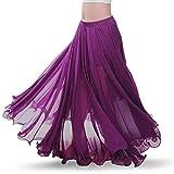 Wuchieal Falda para danza del vientre, danza del vientre, danza del vientre, vestido de gasa, falda larga, ropa de rendimiento, morado, talla única