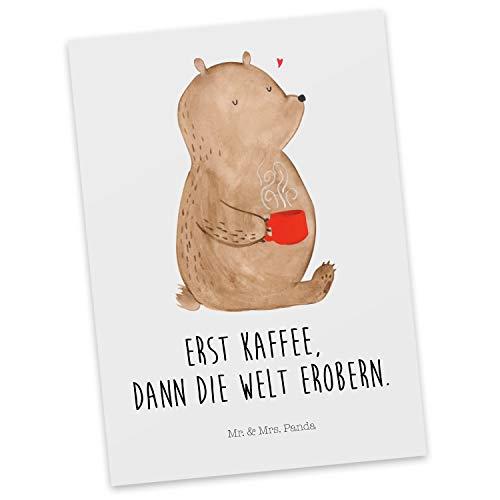 Mr. & Mrs. Panda Einladung, Ansichtskarte, Postkarte Bär Kaffee mit Spruch - Farbe Weiß