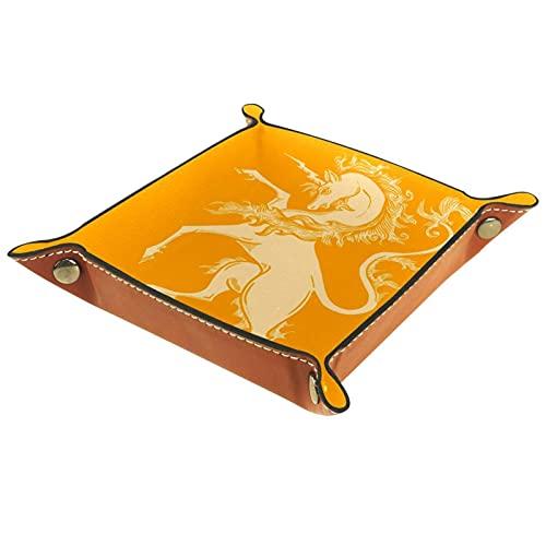 Bandeja de valet para almacenamiento de escritorio – Bandeja multiusos de piel sintética para mesita de noche, soporte de dados para llaves, teléfono, cartera, moneda, joyas, unicornio amarillo