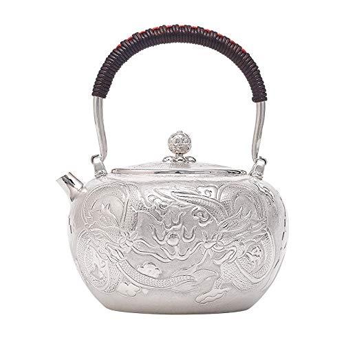 HMXCC - Juego de té de plata de ley para ceremonia de té de gran capacidad, hecha a mano, color plateado