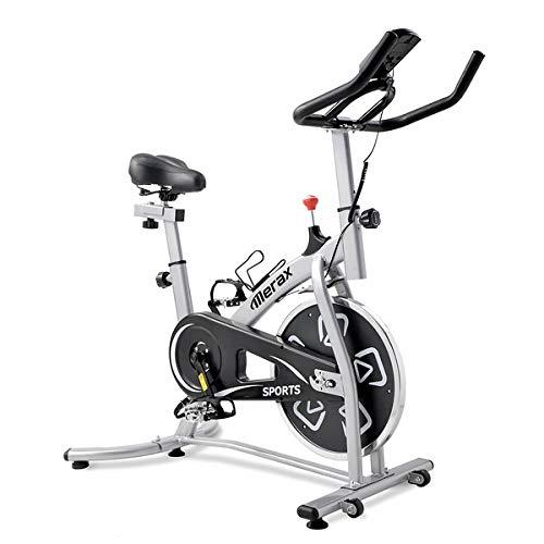 Bicicleta estática de interior con consola LCD, cómodo asiento para entrenamiento cardiovascular, asiento ajustable y manillar