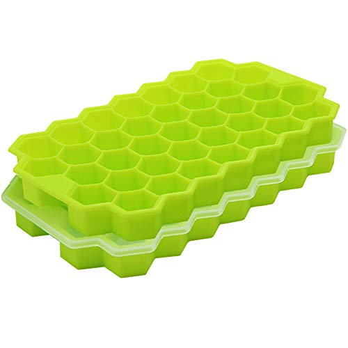 2 PCS Premium Ice Cube Trays, AUSSUA Silicone Ice Cube Molds with Lid, Flexible 74-Ice Trays BPA Free, for Chilled Drinks, Whiskey, Cocktail, Food, Reusable, Safe Hexagonal Ice Cube Molds