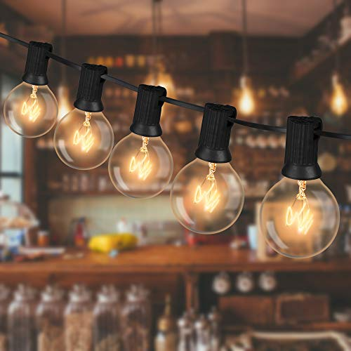 Guirnaldas Luminosas de Exterior, 10.2m Cadena de Luz Bombillas, G40 Guirnalda Luces con 28 Bombillas, Cadena de Luz Exterior Impermeable para Jardín, Habitaciones, Bodas, Patio, Cafe, Fiesta