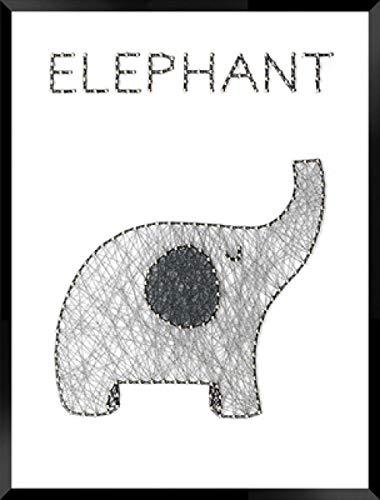 Eenvoudige handgemaakte DIY string zijde schilderij kleine olifant garen schilderij frameloze nagel kronkelende lijn decoratieve schilderij 30 * 40cm