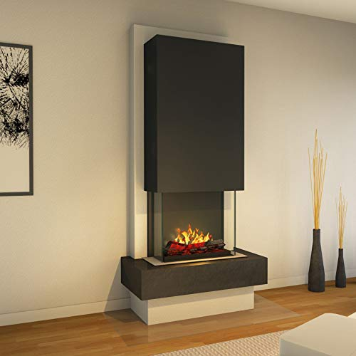Muenkel Design Milano - Opti-Myst elektrische haard open haard - zonder verwarming - natuursteen negro leisteen zwart - rookvanger zwart-grijs