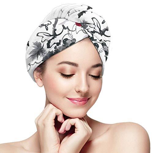 N/A Serviette à Cheveux en Microfibre Turban à séchage Rapide, Bonnet de Bain inspiré de la Nature Rurale Artistique Composition de Feuillage Sauvage Berry Plantes avec Feuilles