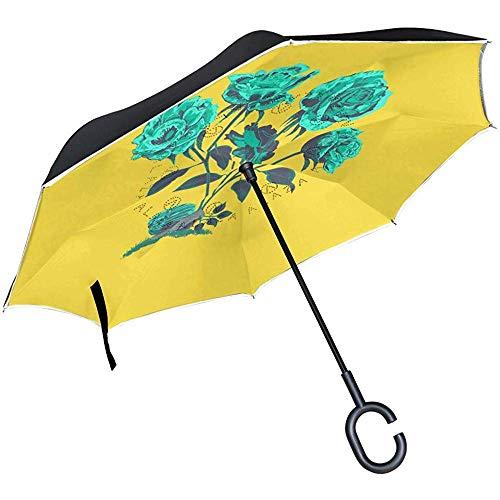 Omgekeerde reisparaplu, voor cocktail, mojito dranken, omgekeerd, UV-bescherming, winddicht, met C-vormige greep voor golven in de buitenlucht.